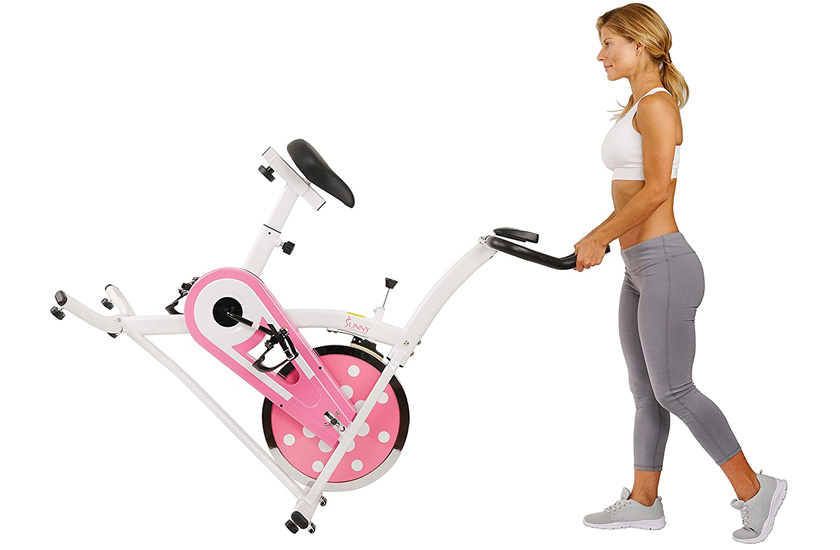 Sunny Health & Fitness Indoor Cycling Exercise Stationary Bike Pink - P8100